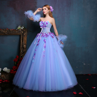 100%real luxury floral medieval dress with sleeve cuff renaissance Gown princess cosplay Victorian/belle ball gown