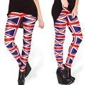 2014 new women' spring autumn sexy slim high elastic British flag ankle length legging