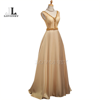 LOVONEY 2017 New Arrival Sexy V Neck Golden Evening Dress Gowns Floor Length Long Formal Party