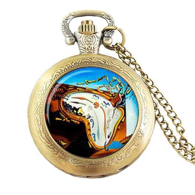 steampunk alice in wonderland salvador dali clock watch necklace