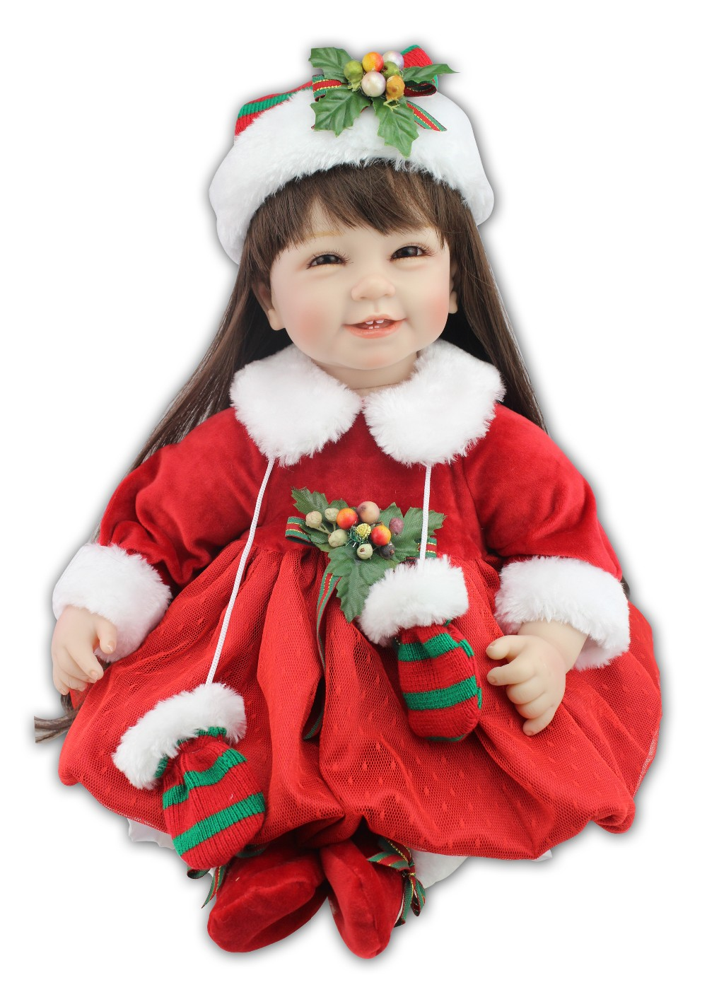 NPKCOLLECTION lifelike reborn toddler doll with Christmas hat and Red skirt fashion doll girl's gift 2017 NEW design hot sale new hot 17cm avengers thor action figure toys collection christmas gift doll with box j h a c g