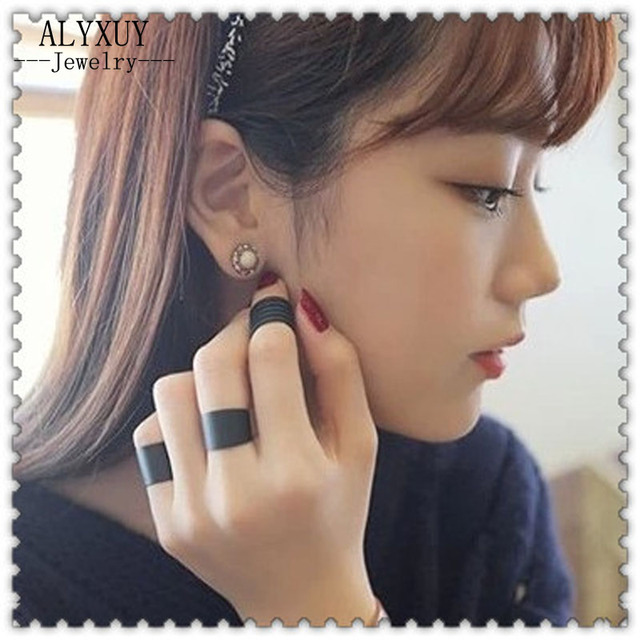 New fashion jewelry cool black finger ring set 1set=3pcs gift for women girl R10