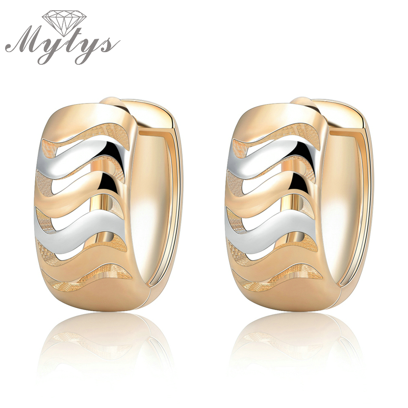Mytys TWO-TONE HUGGIE Small Hoop Earrings For Women Fashion White and Yellow Hollow Stripe Little Earrings CE242Mytys TWO-TONE HUGGIE Small Hoop Earrings For Women Fashion White and Yellow Hollow Stripe Little Earrings CE242