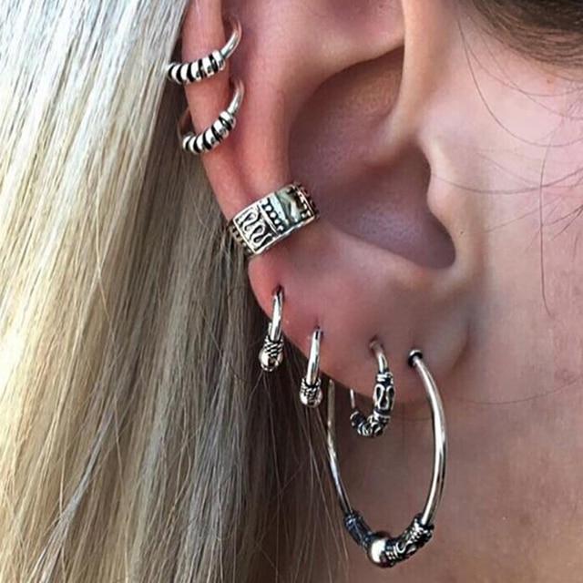 E0263 Bohemian Style Silver Color Earring Set Punk Style Vintage Hoop Earrings E