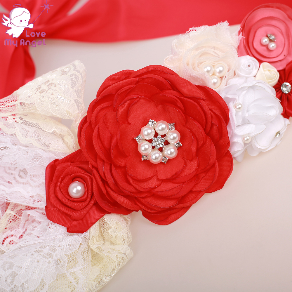 1pcs Red rhinestone chiffon satin lace flower girl sash belt Bridal dress  accessory Maternity belly dress sash party sash-in Women s Belts from  Apparel ... 6e8194d2df5a