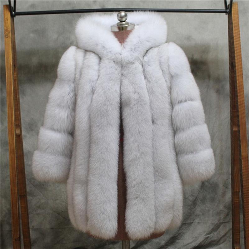 FURSARCAR Women Winter Real Fox Fur Coat With Hood 75cm Long Fur Female Jacket Thick Whole Leater Genuine Natrual Fox Fur Coats