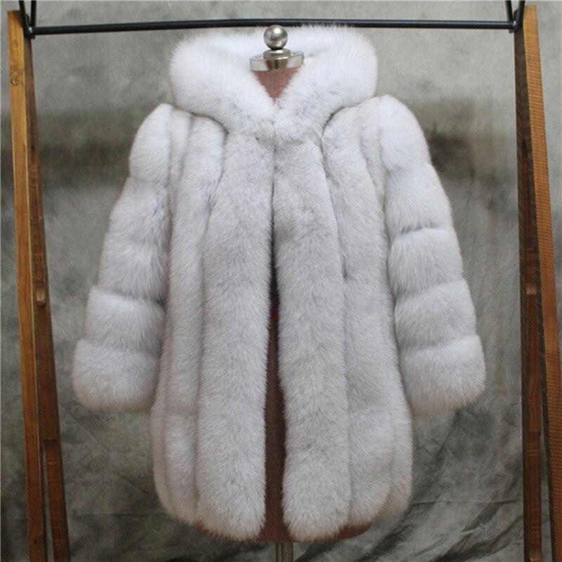 FURSARCAR femmes hiver réel manteau de fourrure de renard avec capuche 75 cm longue fourrure femme veste épaisse tout Leater véritable naturel renard manteaux de fourrure