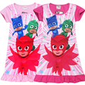 New Summer Pj Short Sleeve Casual Dress for Girls Mask Cotton Clothes Baby Kids Party Dresses PJMASK Cartoon Printed Colthing