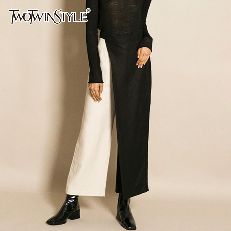 TWOTWINSTYLE Patchwork Wide Leg Pants Women High Waist Zipper Large Size Long Trousers Spring Summer Fashion