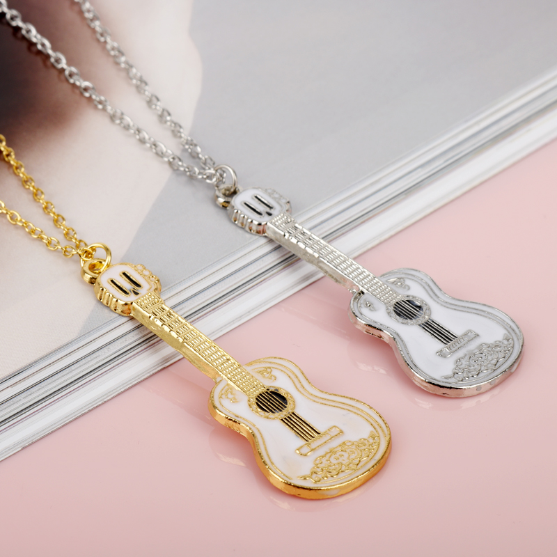 3cd3bbe0a Aliexpress.com : Buy Fashion Cool Jewelry Guitar Pendant Necklace Punk  Women Man Charm Necklace Music Fans Best Friends Gifts from Reliable Chain  Necklaces ...