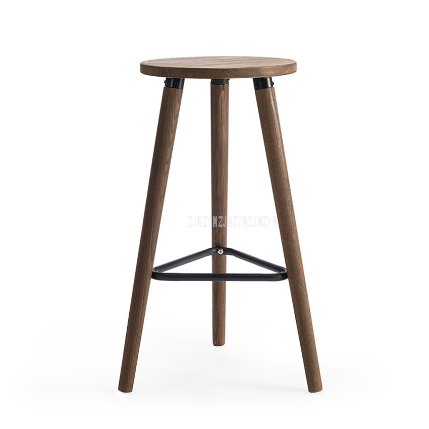 Industrial Vintage Antique Bar Stool Height 66.5cm Round Seat Wooden Loft Style Furniture Counter Bar Stool 3 Leg Solid Wood homall bar stool walnut bentwood adjustable height leather bar stools with black vinyl seat extremely comfy with seat back pad