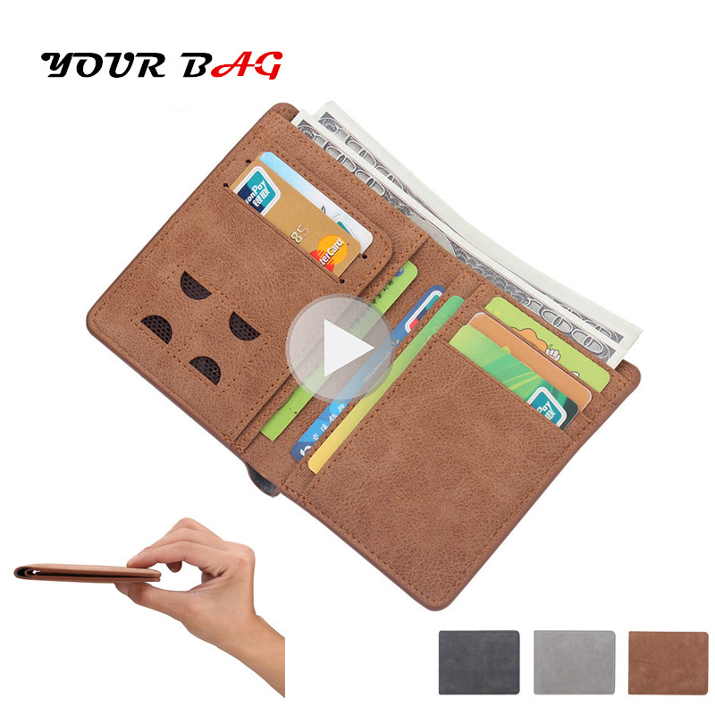 UBAG Men Leather Wallet Card Holder Short Male Purse Small Wallet Mini Vintage Soft Thin Money Coin Credit Bag Black Friday Gift цена
