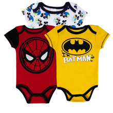 3PCS/LOT 0-12 Months Spiderman Batman Cartoon Infant Baby Clothing Short-Sleeve Newborn Girl Bodysuits Boy Bodysuit Onesies