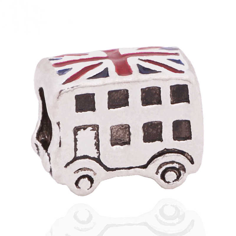 New Creative European Silver Color Colorful Epoxy London Bus Beads Charms Fits Pandora Style Bracelet Diy Jewelry