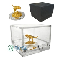 1Set Customized business gift 3D Metal dinosaur sculpture model printed dinasour coin acrylic display case with black gift box