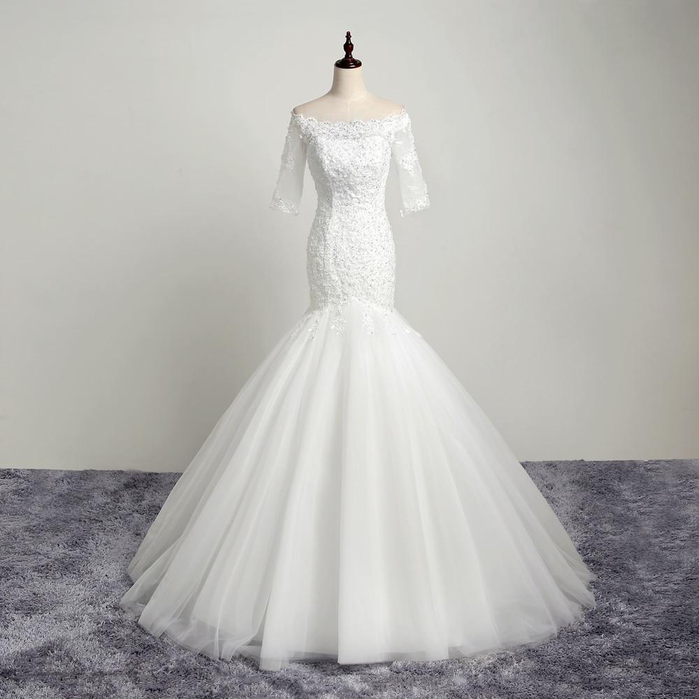 Simple And Elegant Wedding Dresses Boat Neck Three Quarter: Aliexpress.com : Buy 2016 New Mermaid Off The Shoulder