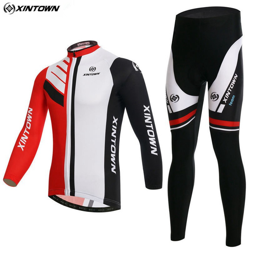 XINTOWN Men Long Sleeve Cycling Jersey Bike Winter Maillot Roupa Ciclismo Cycling Clothing Riding Sportswear CC0380