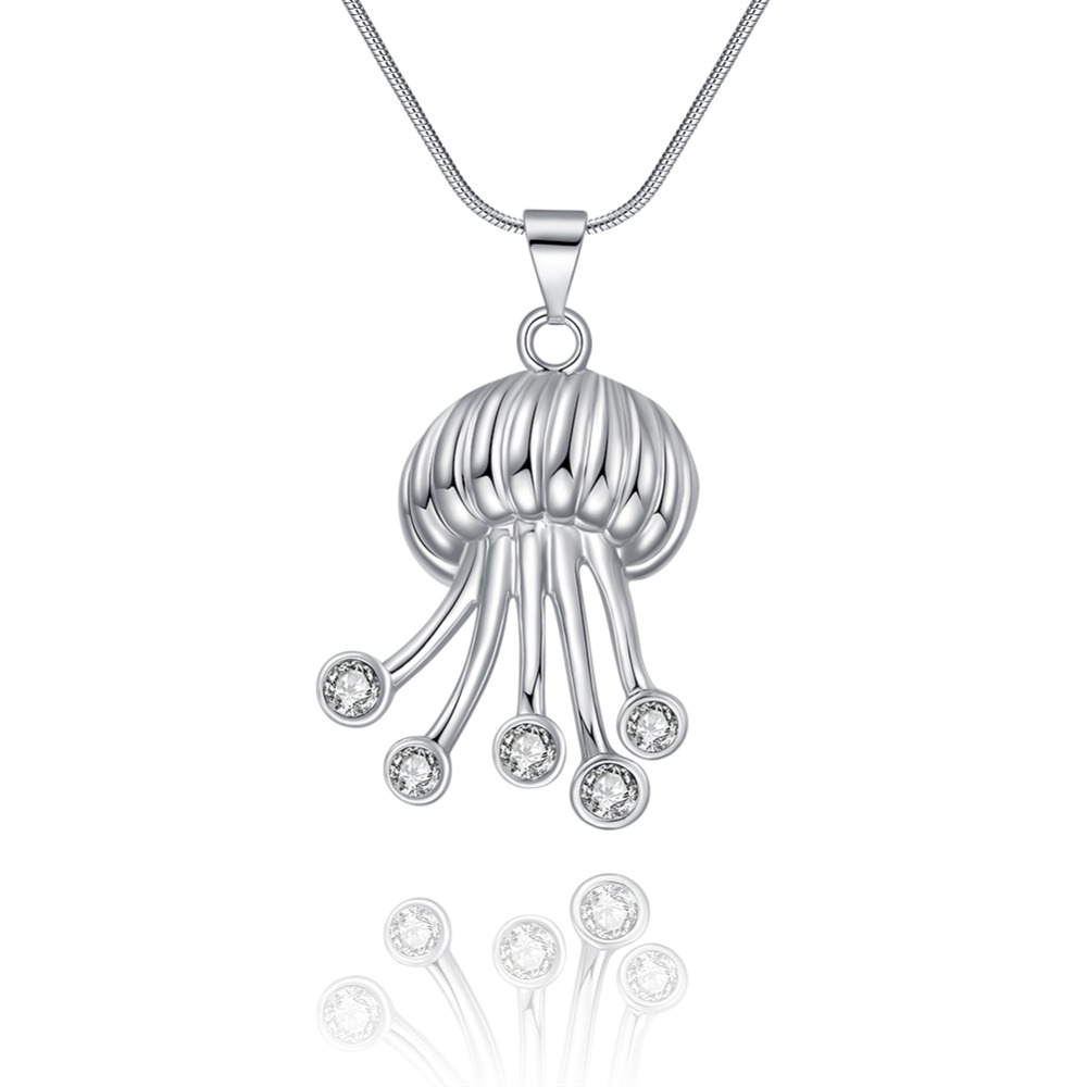 7d956496a6 Free Shipping 9 months selling hot new style creative jellyfish pendant  necklace 925 sterling silver female personality necklace