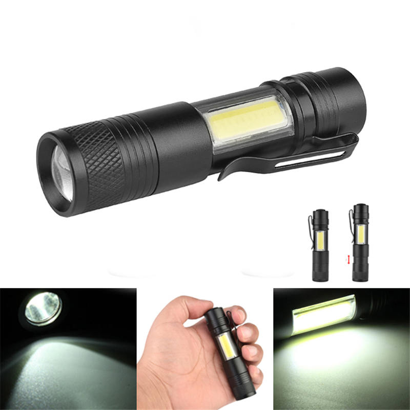 3504 XPE-Q5+COB Zoomable Mini LED Flashlight 600 Lumens 4 Modes Aluminum alloy Outdoor Waterproof Portable Torch