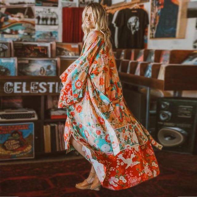 166a1ea7d218d TEELYNN rayon boho Wrapped dress 2018 red floral print summer dresses V  neck kimono sleeve beach wear chic long women dresses -in Dresses from  Women's ...