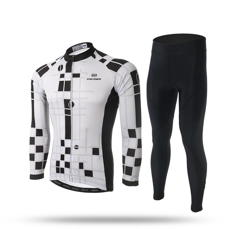 BOODUN Cycling Sets Men Sportswear Suit Bicycle Bike Outdoor Long Sleeve Jersey Sets White Black цена и фото