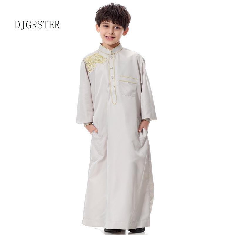 DJGRSTER Islamic Clothing Muslim Arab Middle East Teenage Boy Robe Clothes Muslim Thobe Kids Abaya Embroidery Arabic Clothing Одежда