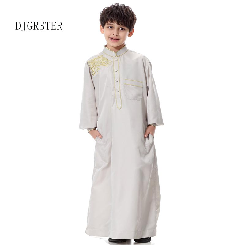 DJGRSTER Islamic Clothing Muslim Arab Middle East Teenage Boy Robe Clothes Muslim Thobe Kids Abaya Embroidery Arabic Clothing