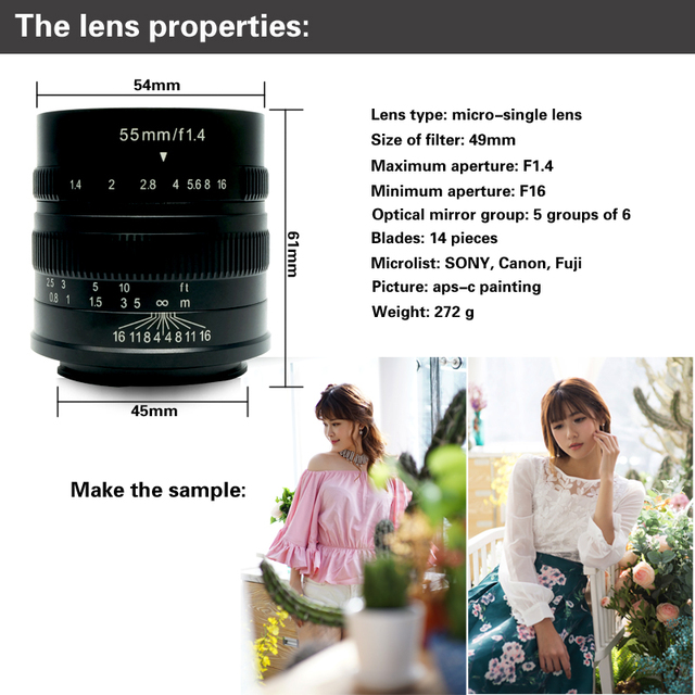7artisans 55mm F1.4 Large Aperture Portrait Manual Focus Micro Camera Lens Fit for Canon eos-m Mount  E Fuji Mount Free Shipping