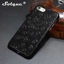 Solque оригинальный натуральные кожа коровы Череп Чехол для iPhone 7 Plus сотовый телефон Роскошные 3D череп тонкий жесткий крышка Чехол