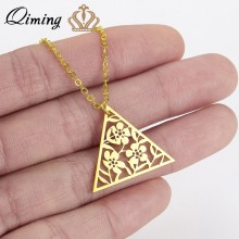 QIMING Gold Flower Triangle Necklace Vintage Tibetan Retro Jewelry Boho Style Gift For Her Art Deco Pendant Chain Necklace Gifts(Hong Kong,China)