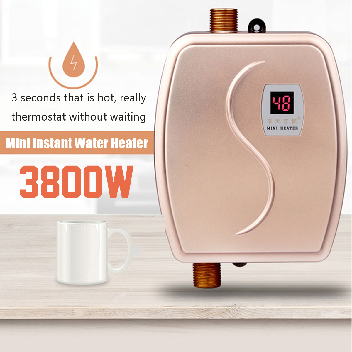 3800W Mini Electric Water Heater Instant Heating LED Display Electric Hot Water Heater Leakage Protection Kitchen Shower Home