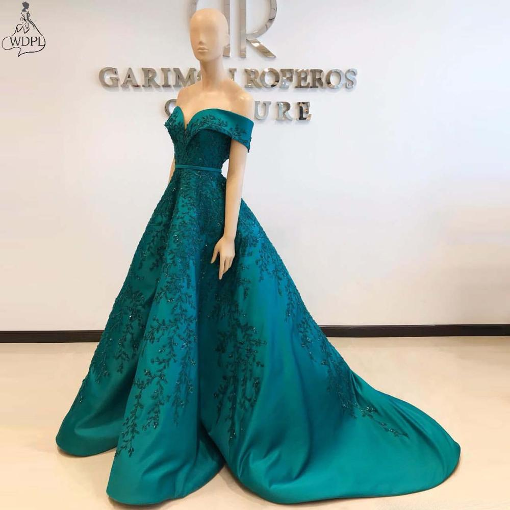 Hunter Green 2019 Arabic Evening Dress Embroidery Beaded Off the Shoulder Prom Dresses Satin Formal Party Pageant Gowns Custom(China)