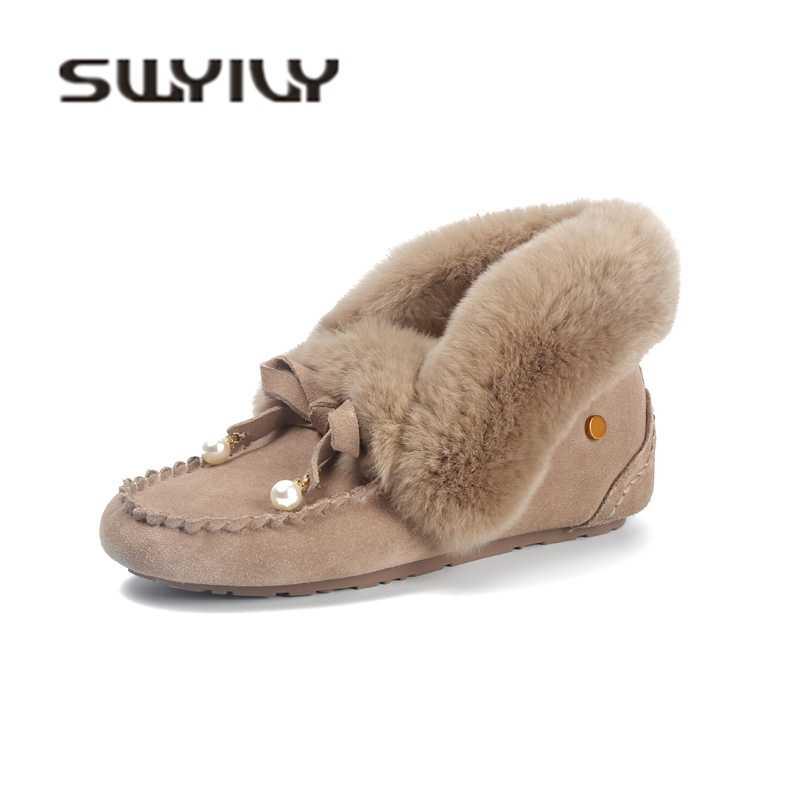 SWYIVY Winter Warm Fur Shoes Woman Flat slip on 2018 Plush Velvet Snow  Ankle Boots Female d2898612c350