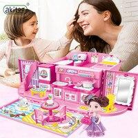 akitoo House toy set princess handbag box kitchen villa models easy to carry children and girls gifts Dollhouse Miniature jimn