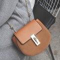 2016 Nuevo bolso de Las Señoras cadena de Metal Circular Espejo Ocasional Brillante Bolsos de Hombro de Cuero Crossbody Bolsos de Moda