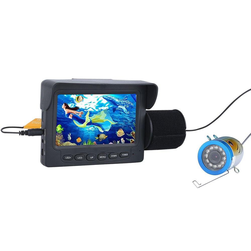 PDDHKK 4.3 pouces TFT couleur moniteur sous-marin pêche vidéo caméra 12 pièces lumières LED blanches détecteur de poisson caméra pour lac étanche