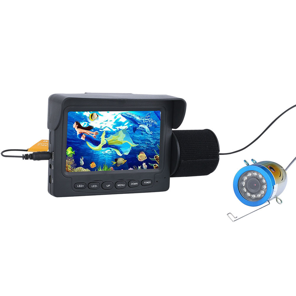 PDDHKK 4,3 zoll TFT Farbe Monitor Unterwasser Angeln Video Kamera 12 PCS LED weiße Lichter Fisch Finder Kamera für See wasserdicht