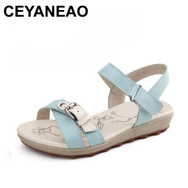 CEYANEAO 2018 Summer new women fashion sandals casual comfortable flat beach sandals woman soft sandals Girl Soft bottom sandals free shipping fashion 2018 new summer women shoes casual sandals genuine leather flats sandals beach slippers soft comfortable