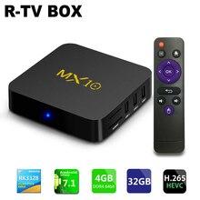 Новый MX10 ТВ Android 7.1 Smart ТВ Box Rockchip rk3328 4 ГБ Оперативная память 32 Встроенная память Коди 18.0 suppot H.265 UHD 4 К 2.4 г Wi-Fi телеприставки