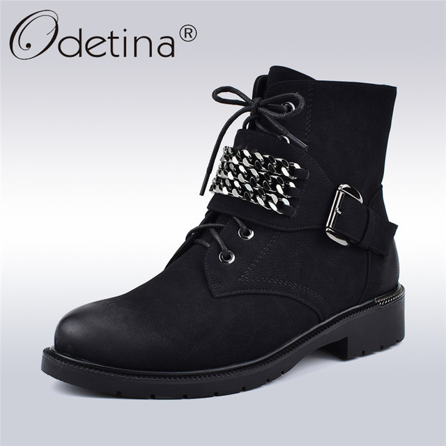 9a2d4038c61d Odetina New Fashion Autumn Winter Women Chunky Low Heel Ankle Boots With  Chains Lace Up Booties Side Zipper Warm Shoes Plus Size