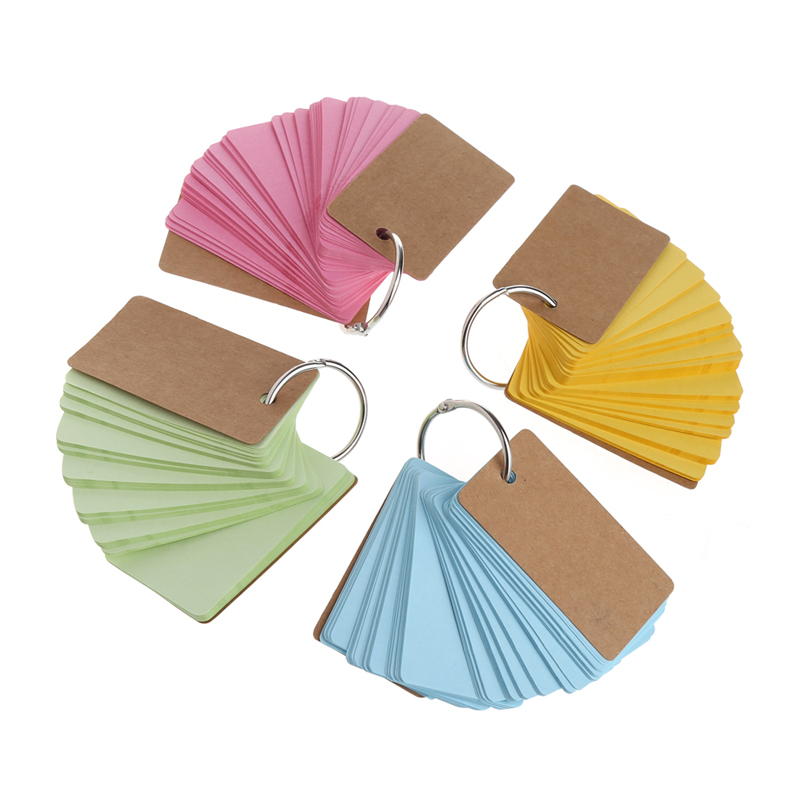 230 Sheets Creative Candy Color Buckle Binder Notes Portable Flash Cards Memo Pads Cute Stationery DIY Blank Card Random Color