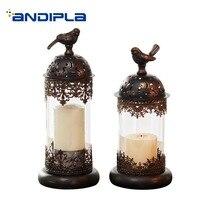 European Style Candle Holder Romantic Candlelight Dinner Supplies Night Light Iron Candlestick Wind Light Decoration Art Crafts