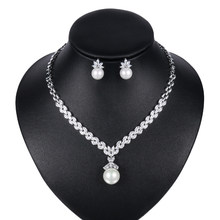 WEIMANJINGDIAN Brand Marquise Cubic Zirconia and Shell Pearl Necklace and Earring Bridal Jewelry Set in Rhodium Silver Color(China)