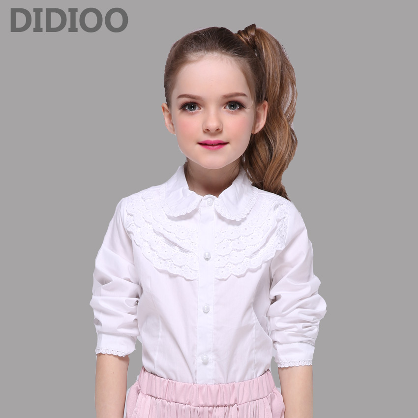 School Kids White   Blouses   For Girls Children Clothing Long Sleeve Cotton Lace   Shirts   Girls Teenage Tops 2 5 7 8 9 11 13 14 Years