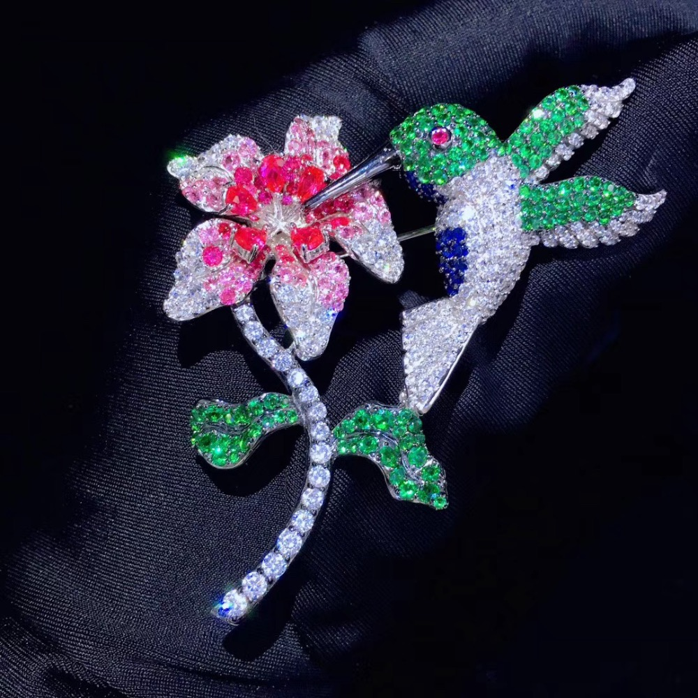 925 sterling silver with cubic zircon bird flower brooch pins fashion women jewelry free shipping high quality  56*73MM