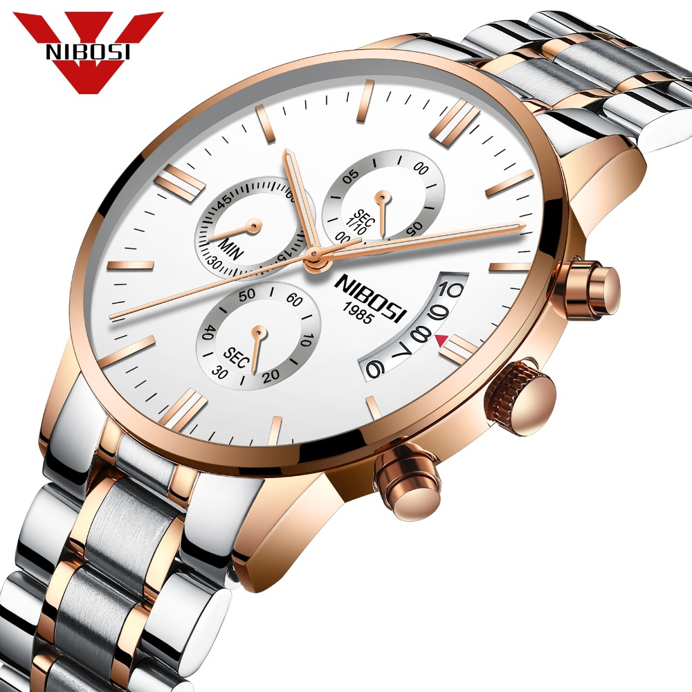 NIBOSI Luxury Top Brand Watches Fashion Rose Gold Elegant Men Watch Waterproof Relogio Masculino Best Quartz Wristwatch for Men цена