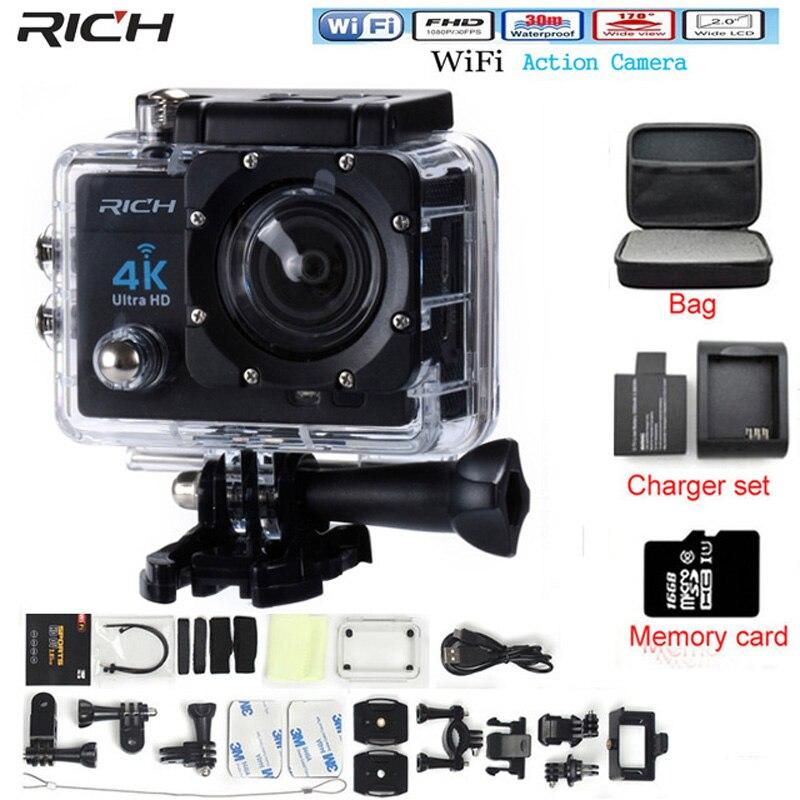 Богатый действие Камера видеокамера HD 4 К 14mp WI-FI 1080 P 2.0 дюймов 170 градусов объектив Go 30 м Водонепроницаемый про действие Камера