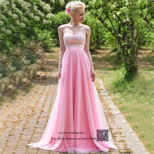 Ballkleider Pink Vintage Prom Dresses 2017 Lace Long Wedding Party Dress  Vestidos de Gala Sweetheart Empire Gowns for Bridesmaid fcc38a52608c