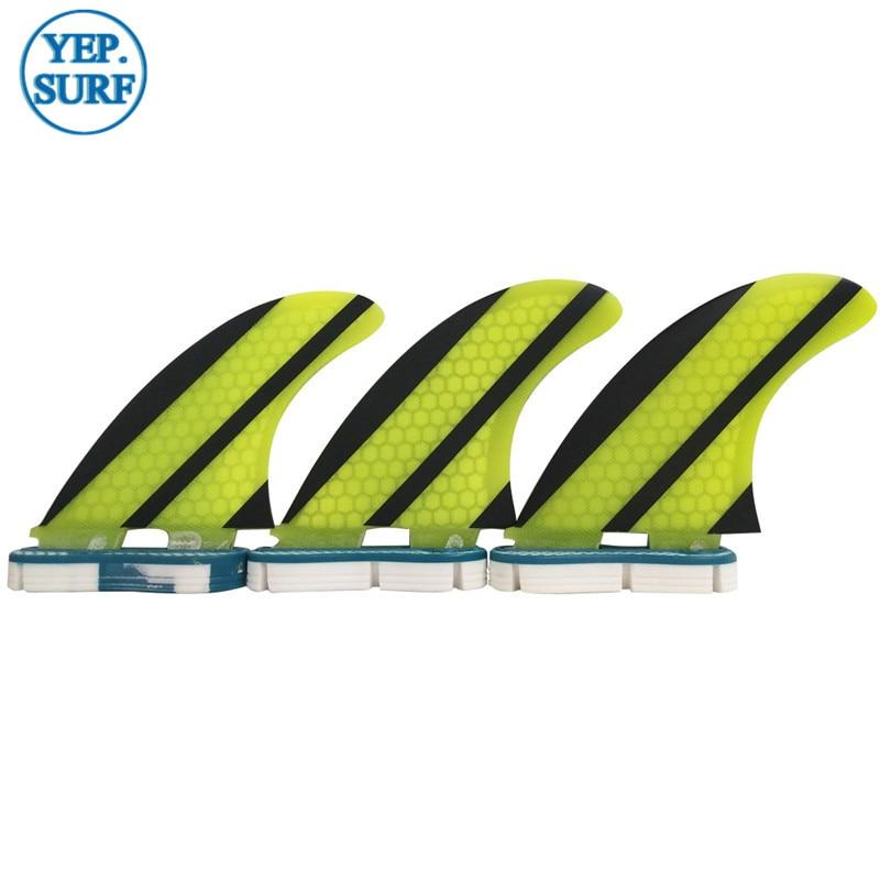 SUP Quilhas FCS Fins G5 Yellow Honeycomb Fiberglass Carbon Fiber - Ջրային մարզաձեւեր - Լուսանկար 1