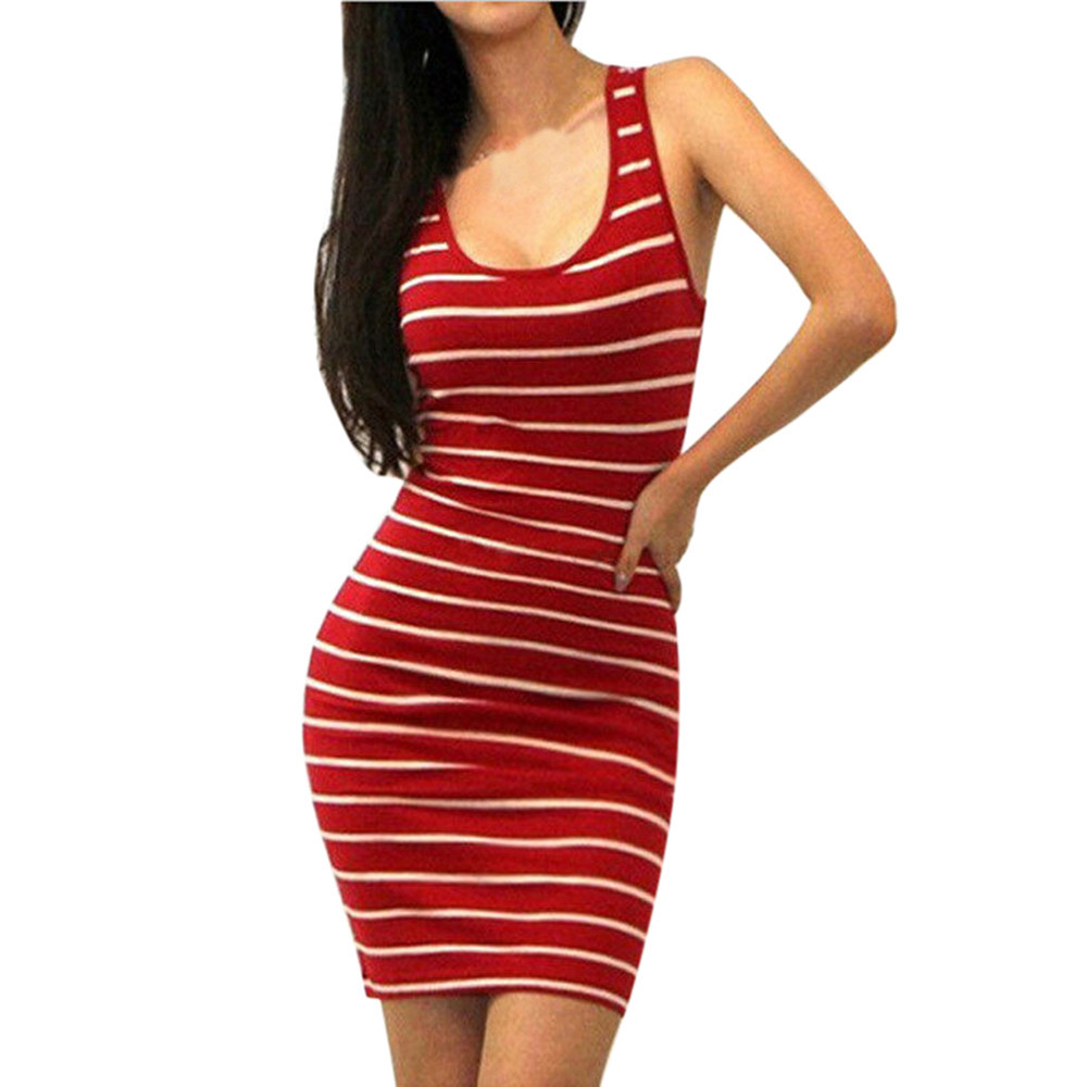 6cb6aa299946a Women Clothings Summer Sheath Casual Striped Sexy Tight Bandage Backless  Bodycon Sleeveless Evening Short Mini Dress Vestidos-in Dresses from  Women's ...